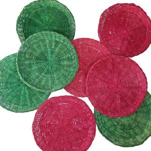 Wicker Rattan Red Green Paper Plate Holders 8pc